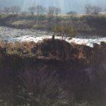 上河和早松神社前の長良川。