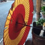 うだつの町並みにある「めだかの学校」で、見せて頂いた和傘。